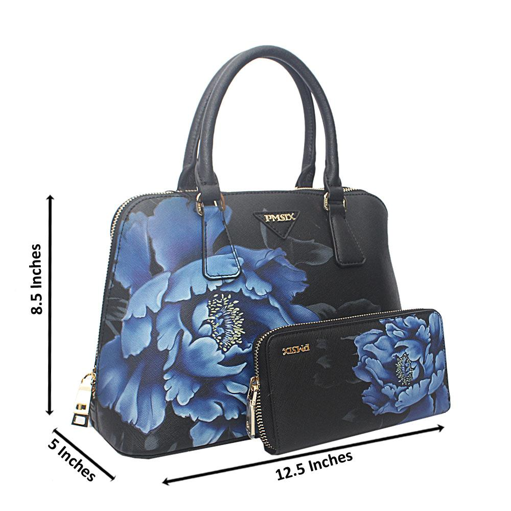 PMSix Blue Black Floral Patterned Cow-Leather Handbag wt Purse