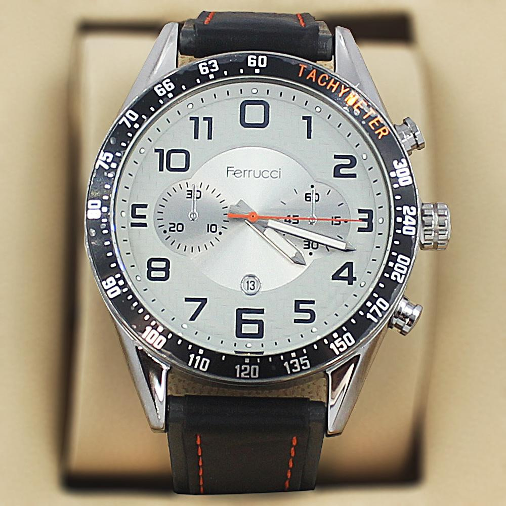 Ferrucci Aleta  Black Leather Sport Series Watch