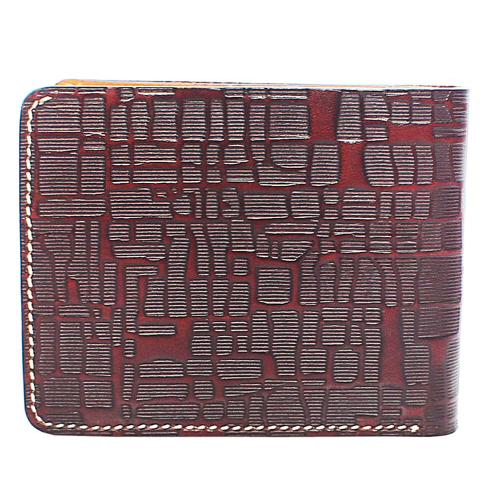 Brown Patterned Single Fold Leather Wallet
