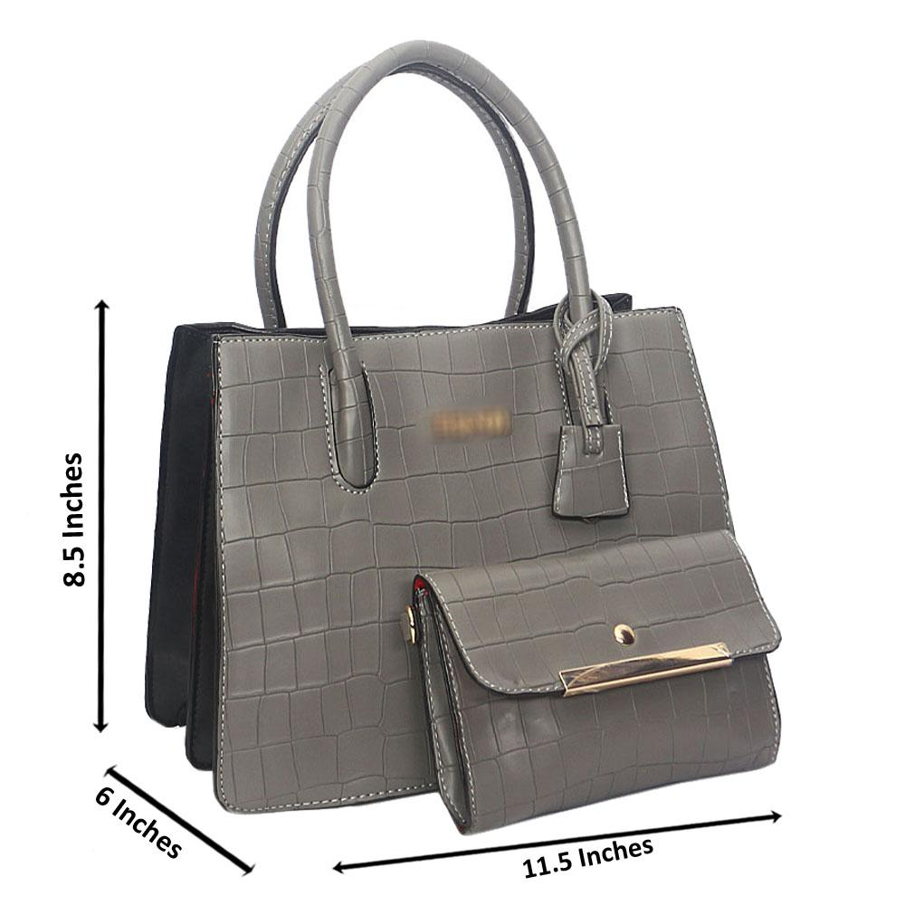 Gray Smooth Lover Leather Tote Handbag