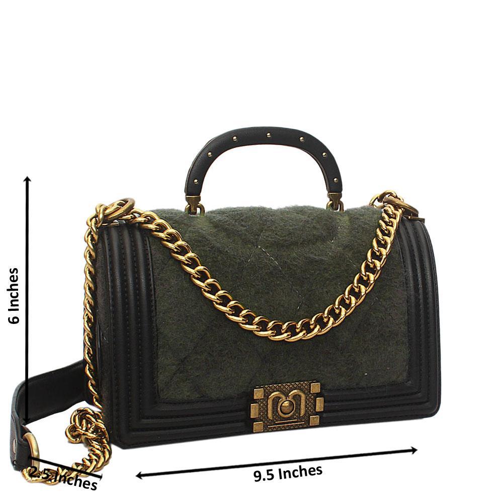 Green Black Furry Leather Small Handle Crossbody Handbag