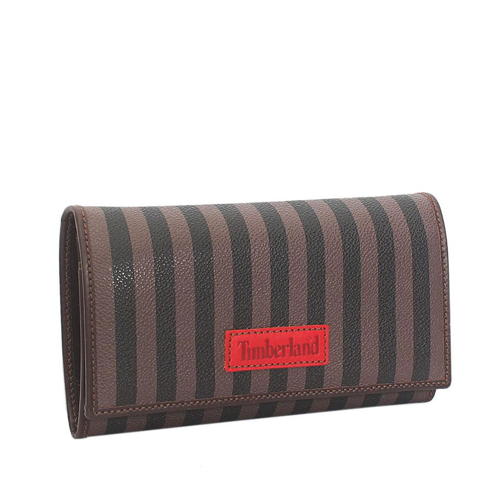 Timberland Brown Black Leather Trifold Ladies Wallet