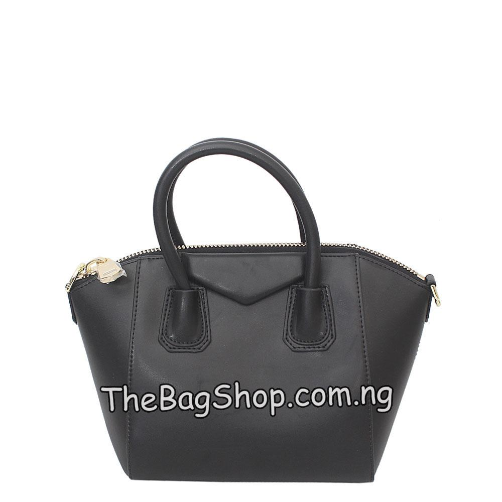 London Style Black Leather Small Tote Bag