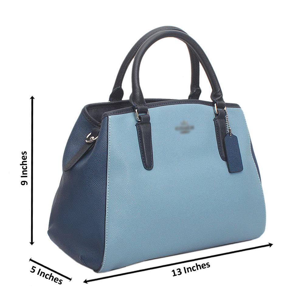 Sky Navy  Cahier Saffiano Leather Handbag