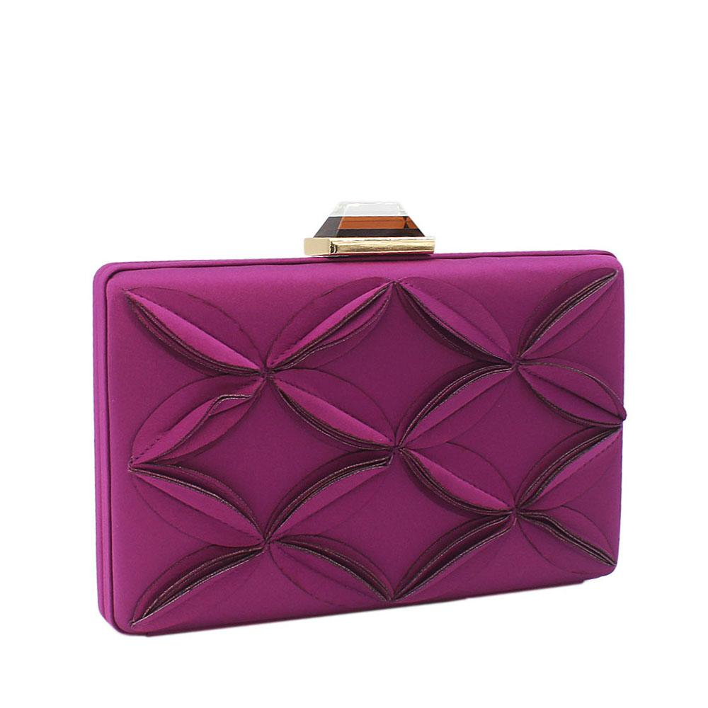 Purple Satin Flower Patterned Clutch Purse