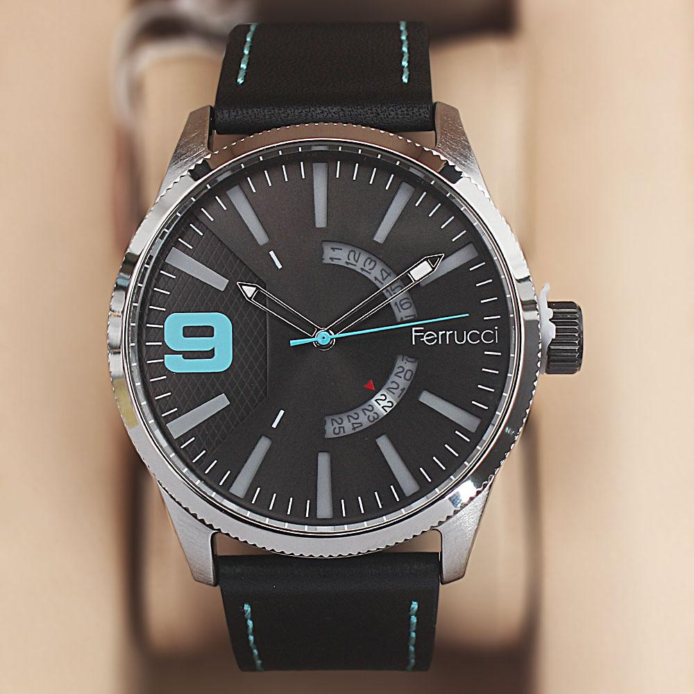 Ferrucci Etched Silver Black Leather Watch