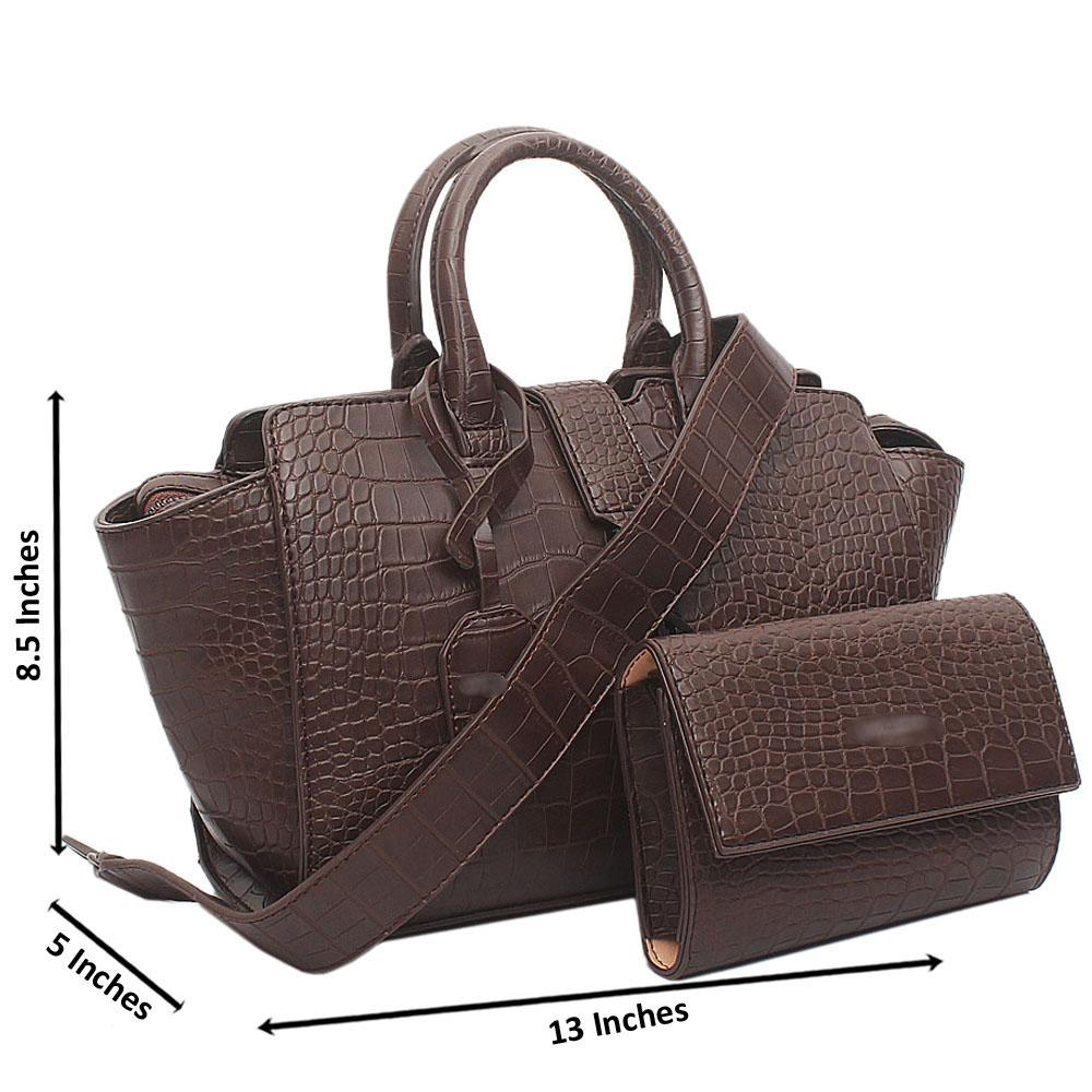 Brown Downtown Cabals Croc Leather Handbag