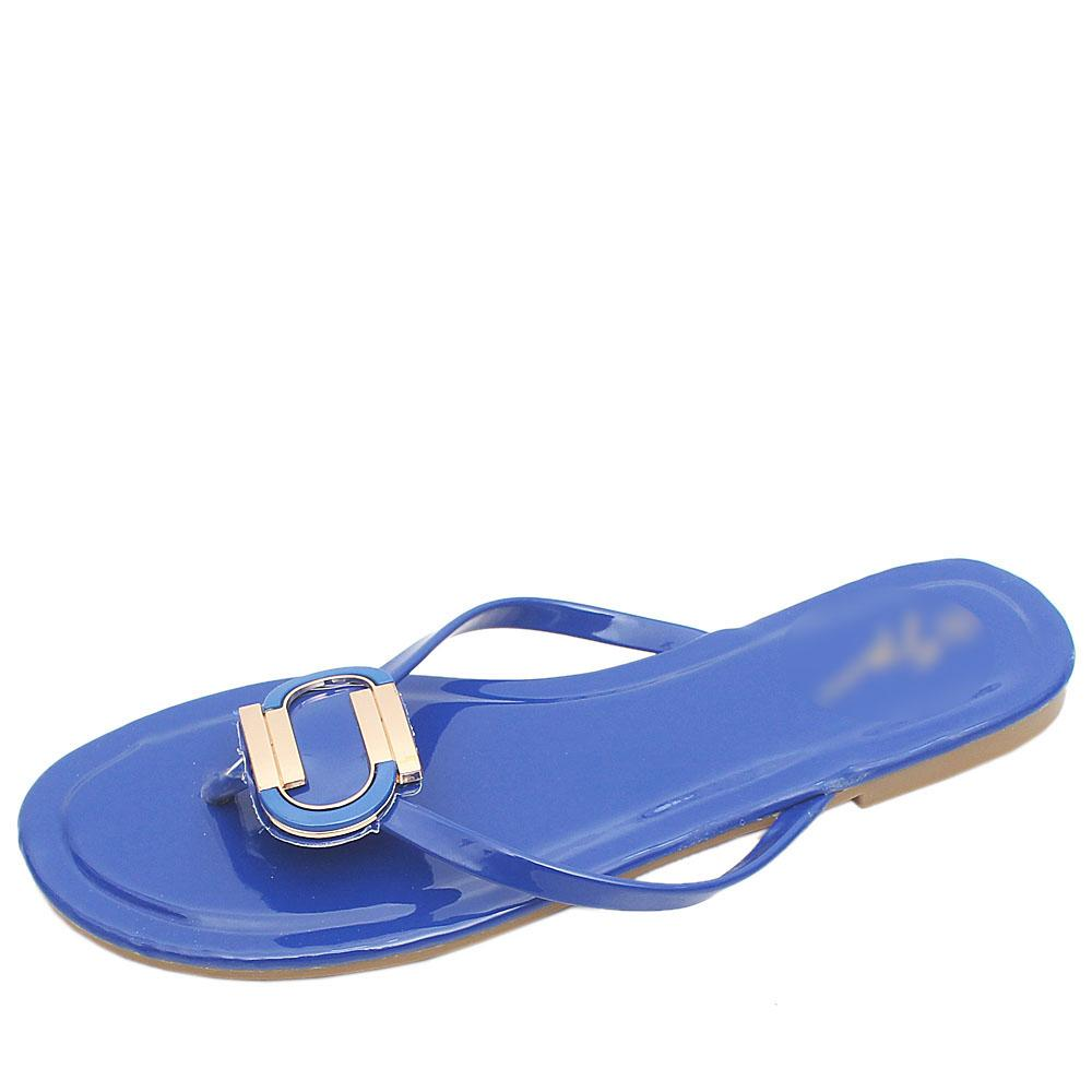 Gius Blue Patent Leather Flat Slippers