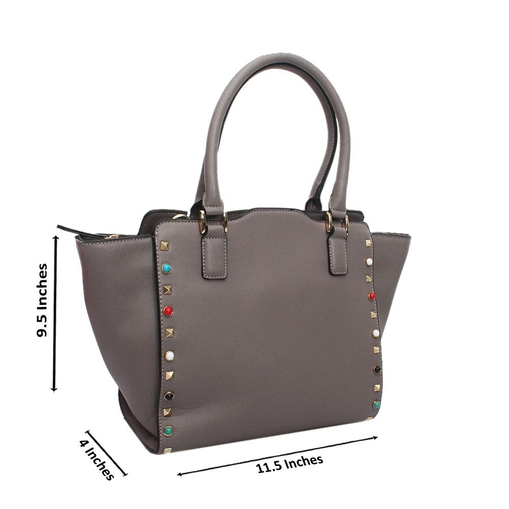 Grey Leather Medium Tote Handbag