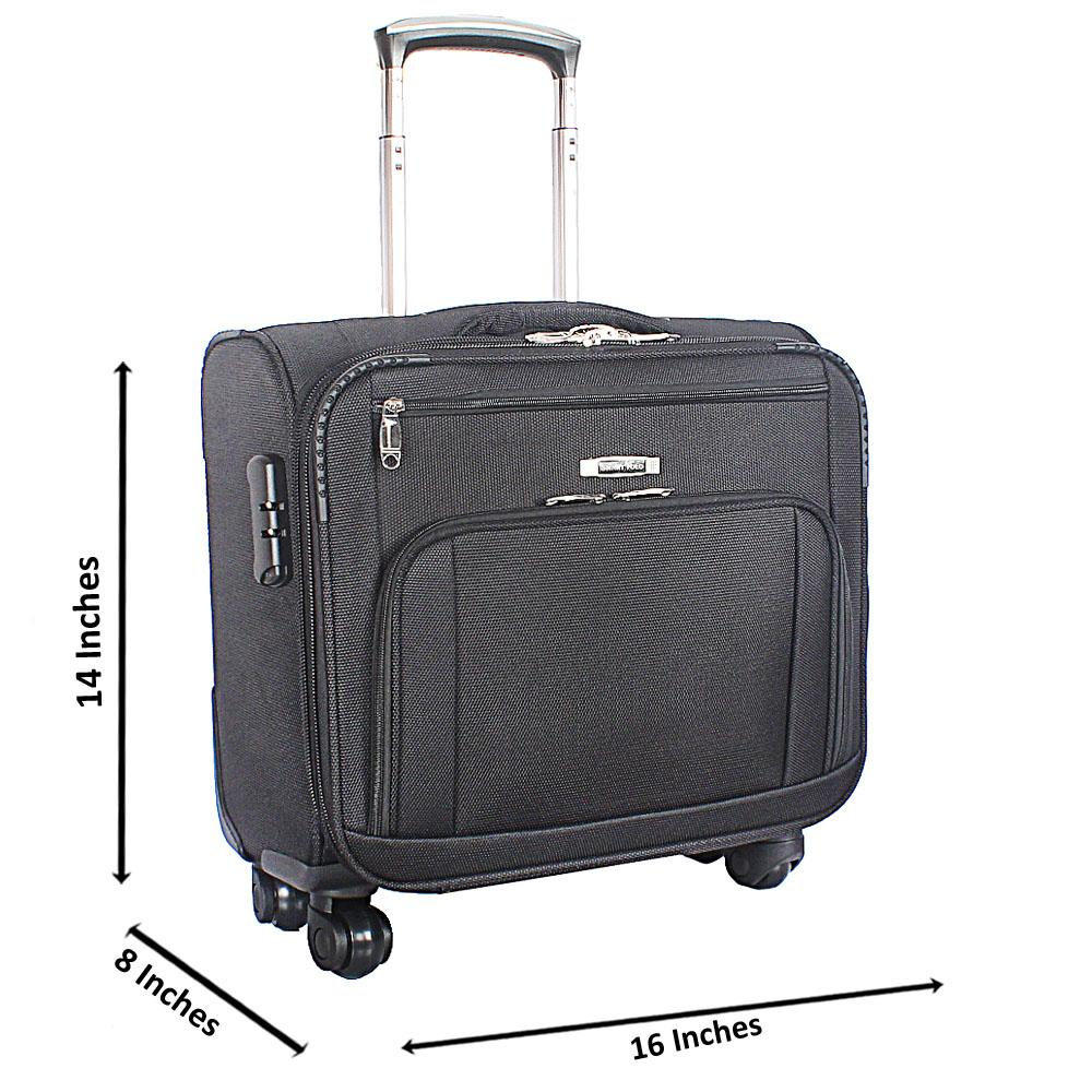 Black-Fabric-4-Compartment-4-Wheels-Spinners-Pilot-Suitcase