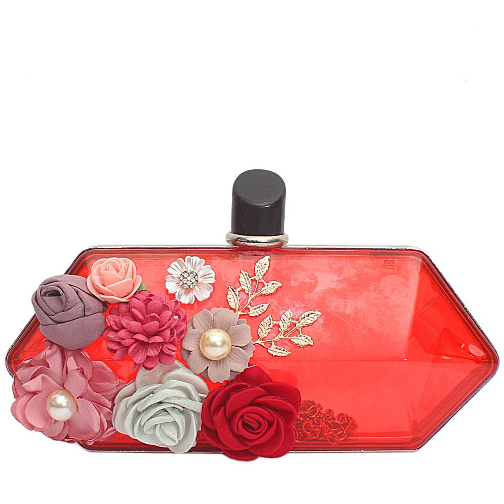 Red Transparent Plastic Hard Clutch