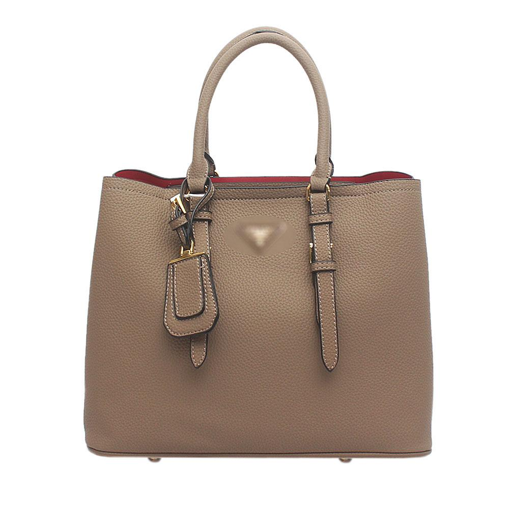 Khaki - Brown Leather Double Bag