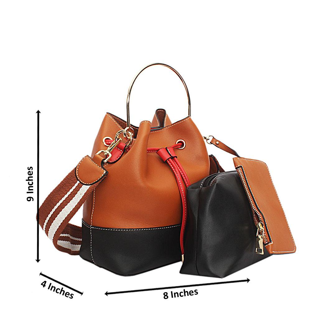 Brown Leather Small Drawstring Bucket Handbag
