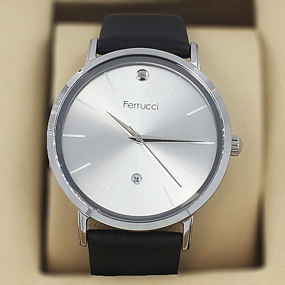 Ferrucci Elmo Silver Black Leather Curve Series Watch