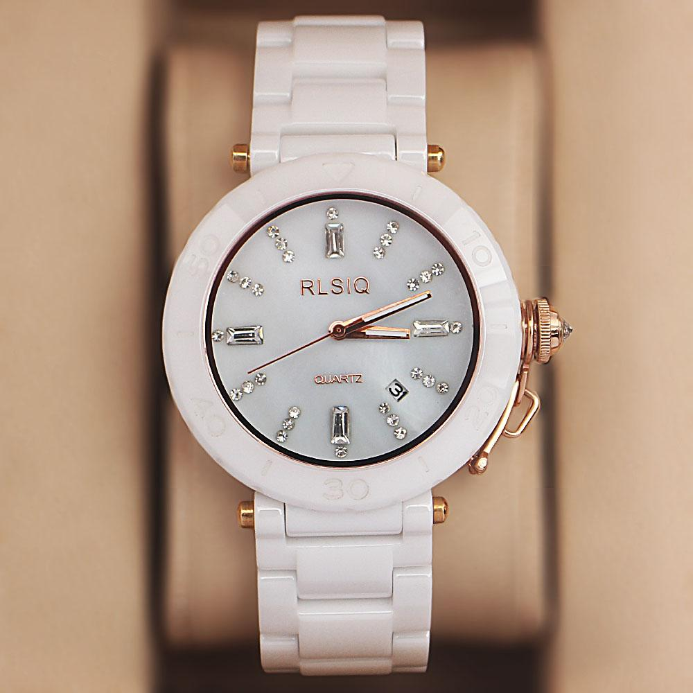 RLSIQ White Ceramic Studded Shanghai LadiesWatch