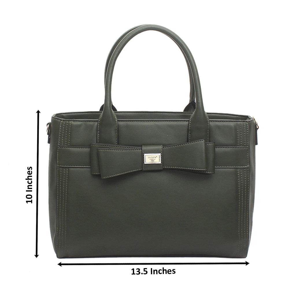 Susen Green Leather Handbag