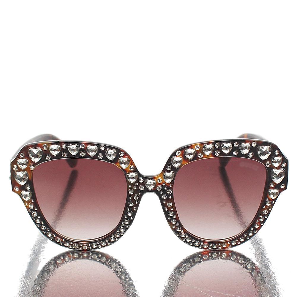 Brown Ice Studded Cat-Eye Sunglasses