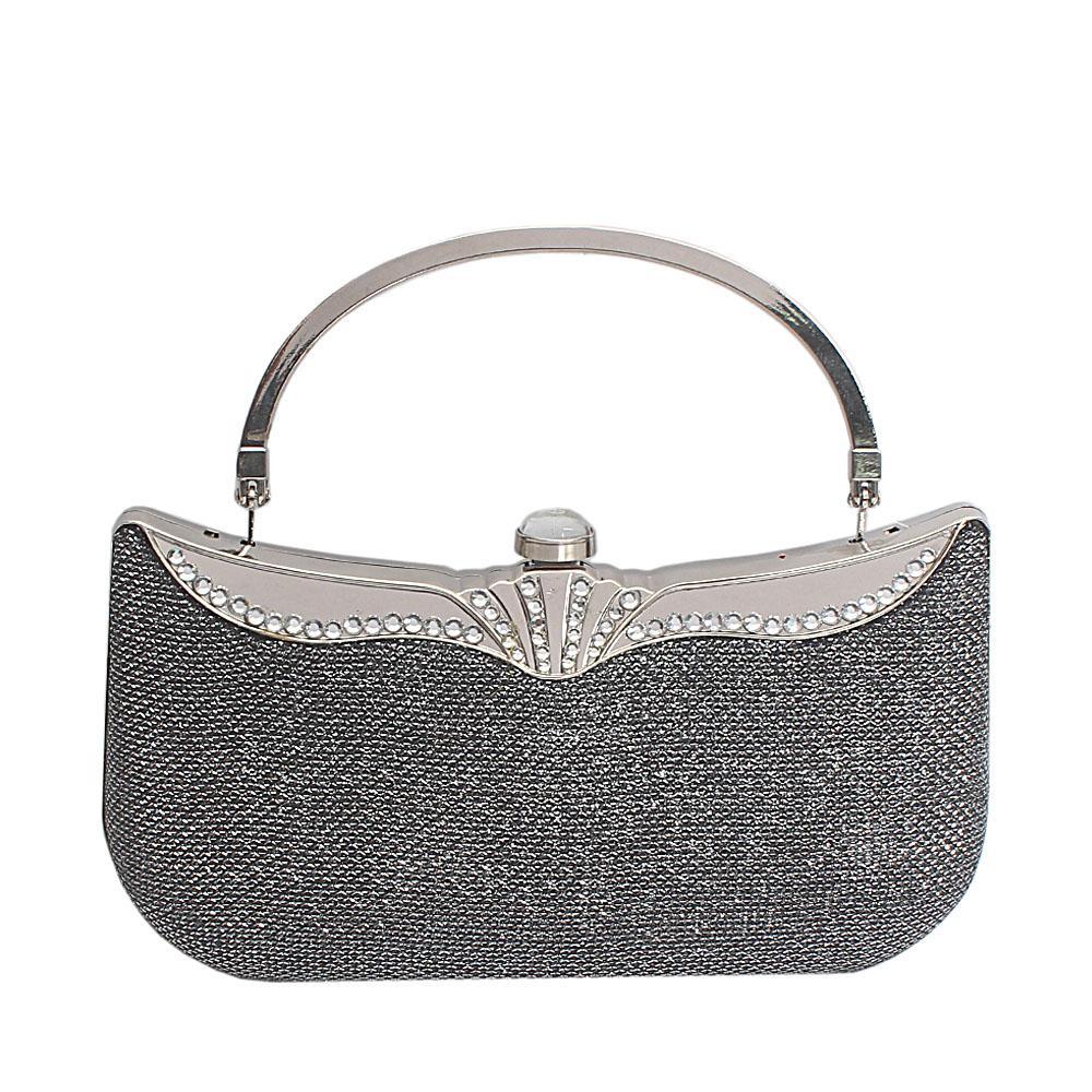 Silver Gray Glitz Hard Clutch Purse Wt Handle