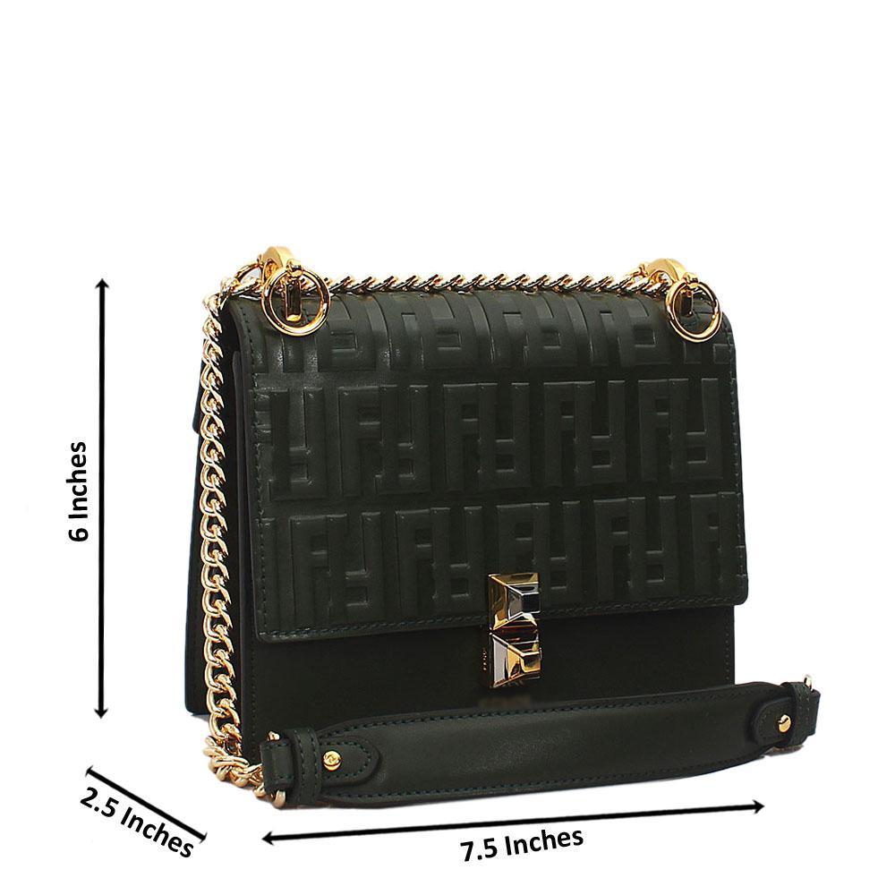 Green Embossed Tuscany Leather Chain Crossbody Handbag