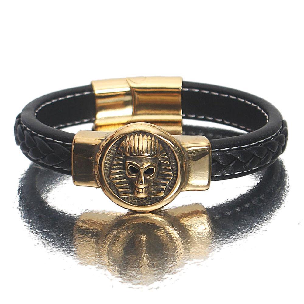 Gold Black Leather Mummy Bracelets