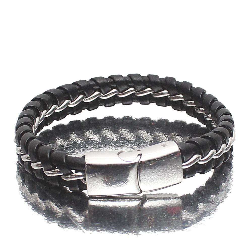 Silver Twisted Leather Bracelet