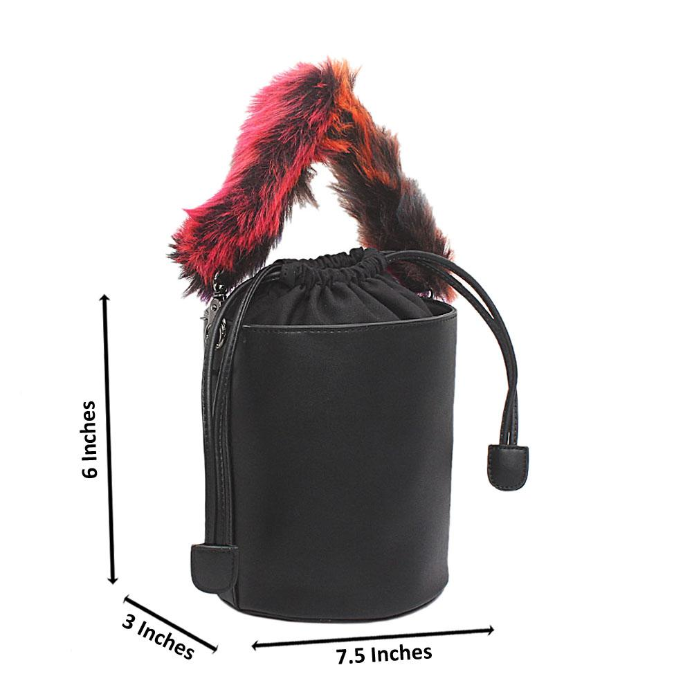 Black Leather Fury Handle Bucket Bag
