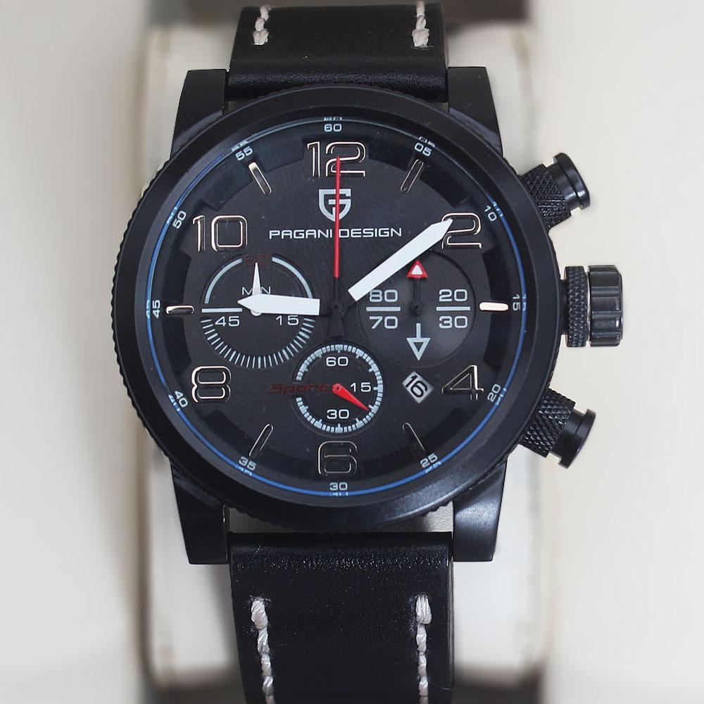 Pagani Design Black White Leather Chronograph Watch