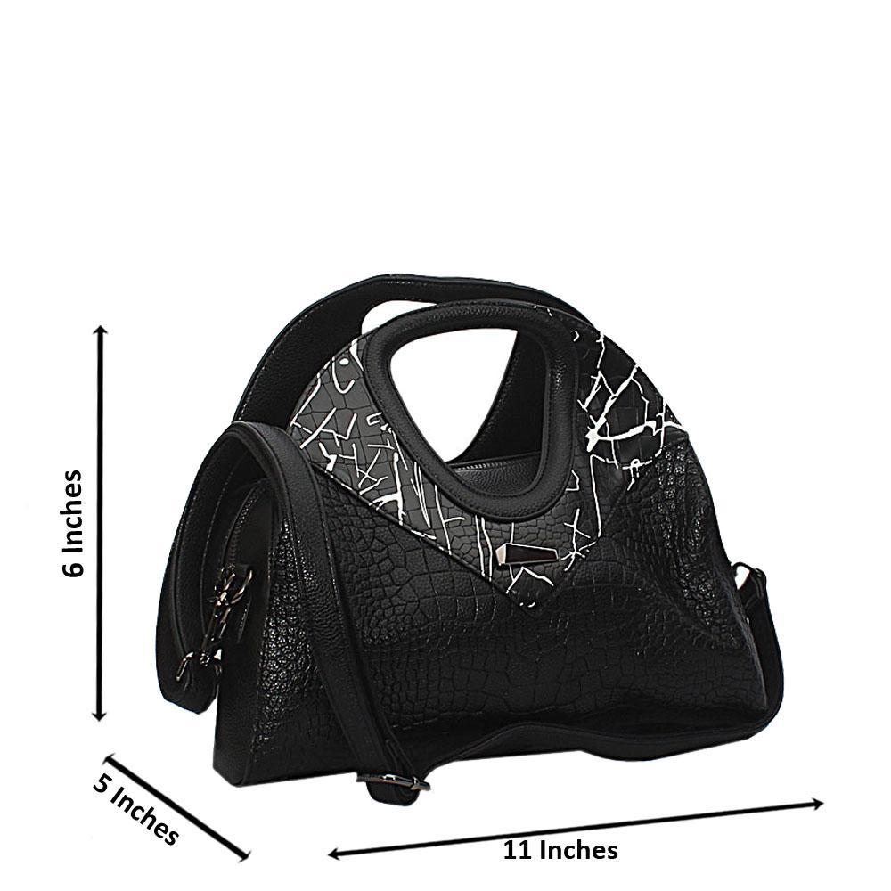 Black White Mix Becca Croc Leather Small Handbag