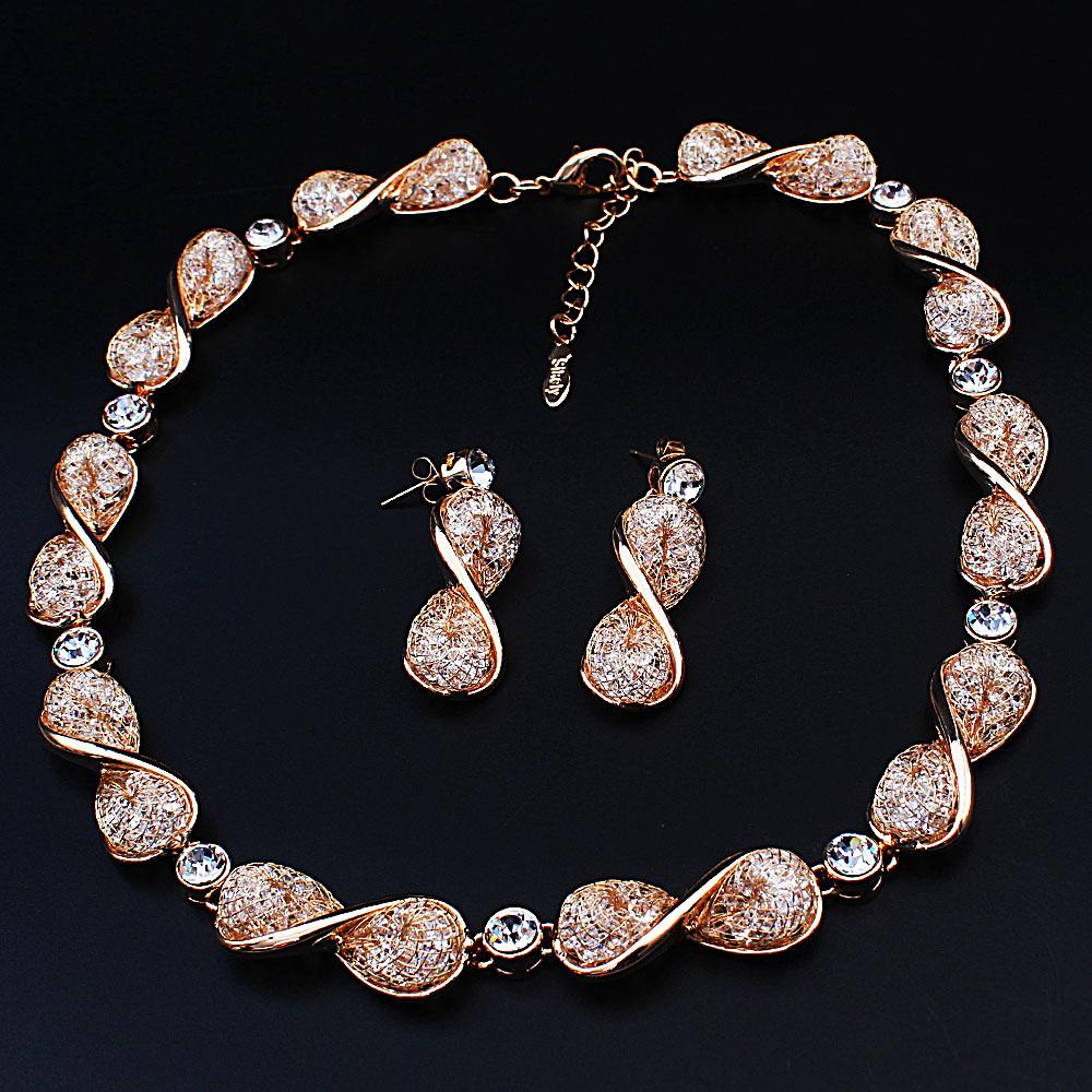 Diane Ross Sterling Gold Twist Ice Stones Necklace and Earrings Set