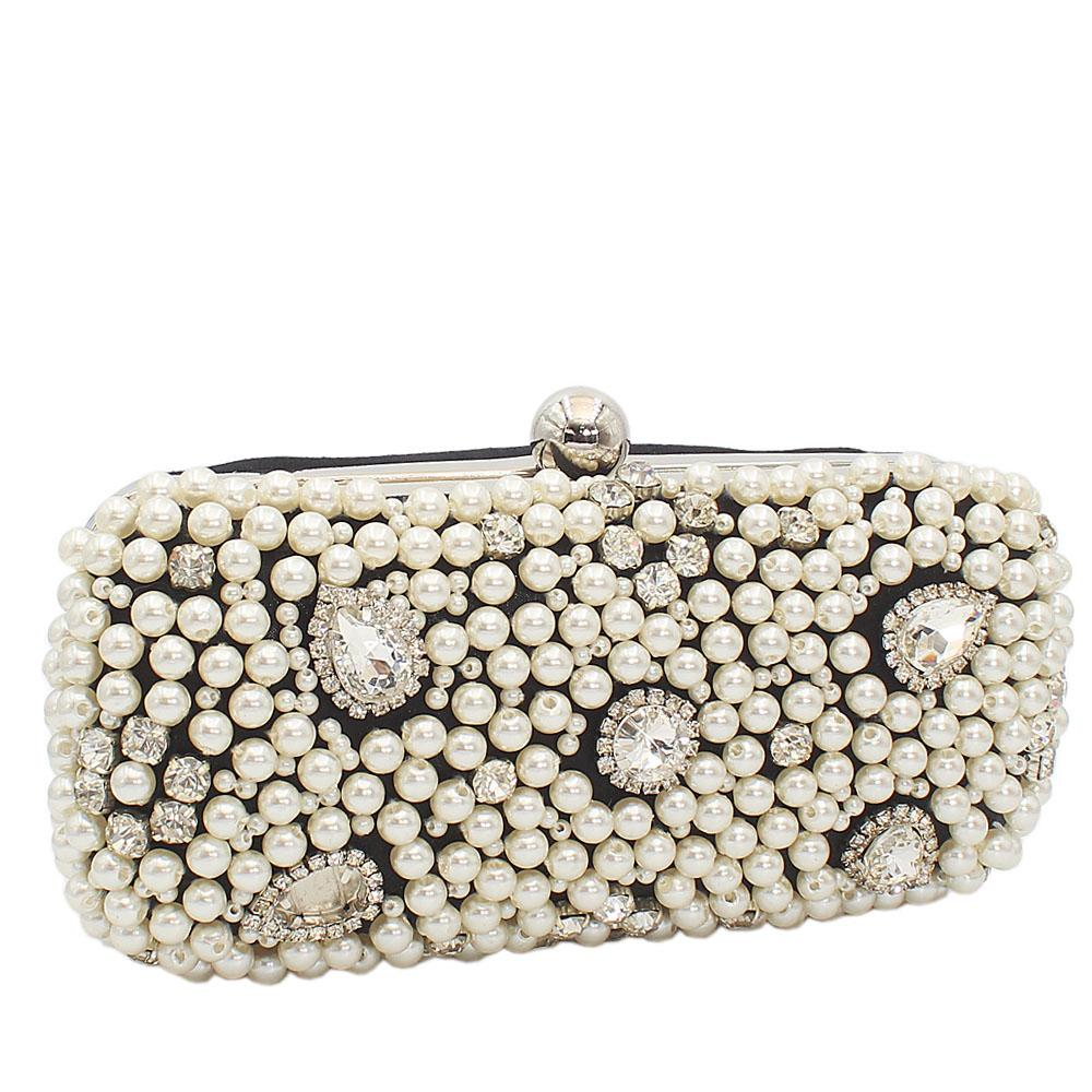 Black Shimmering Pearl Ice Clutch Purse