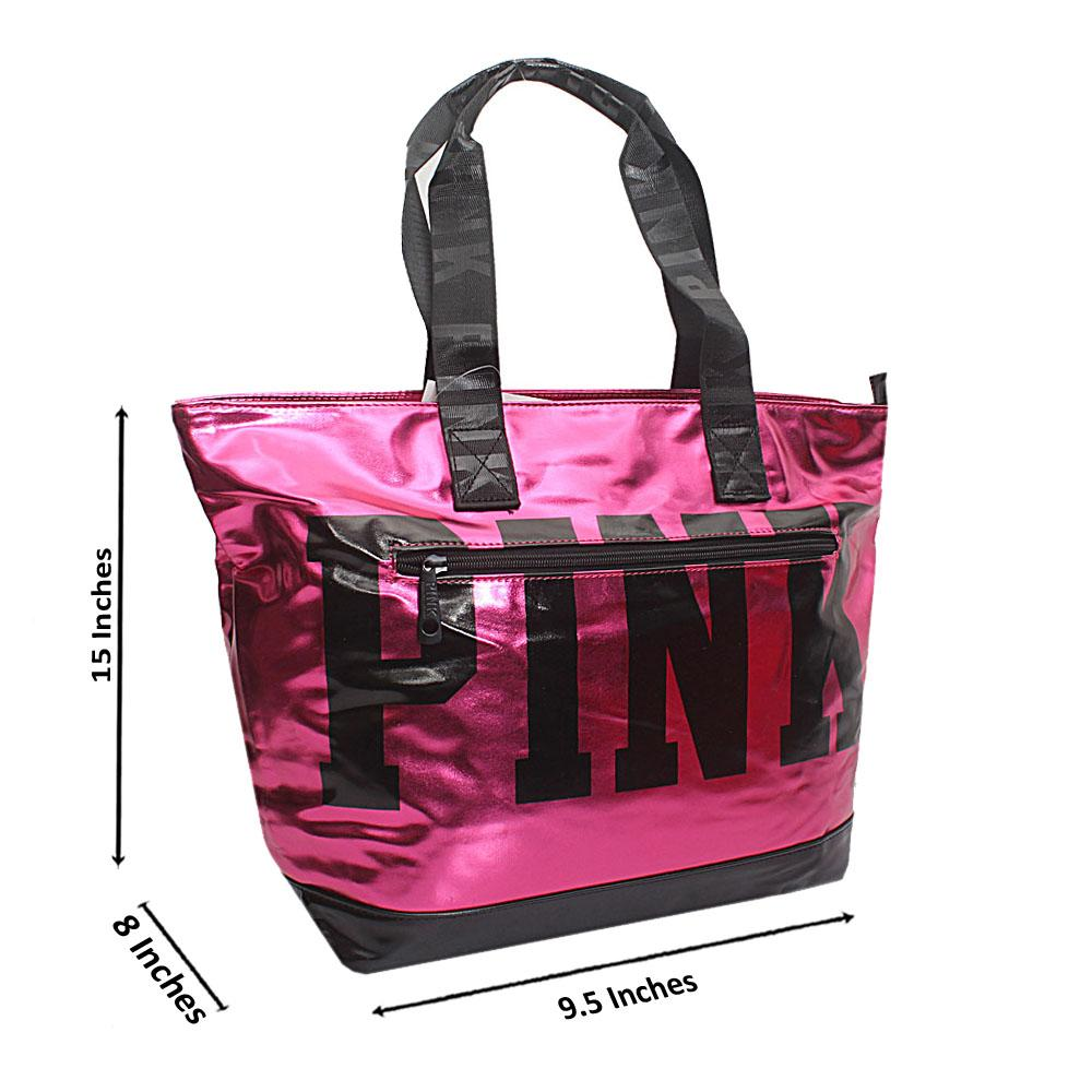 VS-Pink-Black-Patent-Leather-Duffle-Shoulder-Handbag