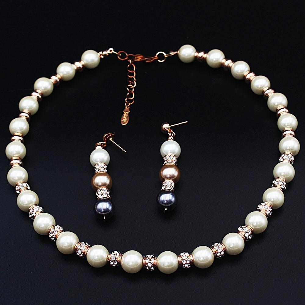 Diane Ross White Pearl Ice Necklace and Earrings Set