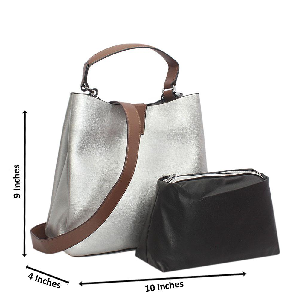 Silver Bucket Style Small Tuscany Leather Top Handle Handbag