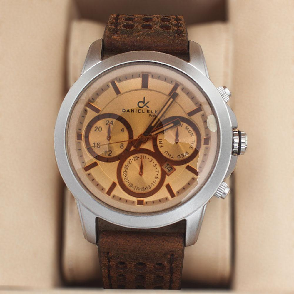 Daniel Klein Water Resistant Brown Leather Watch