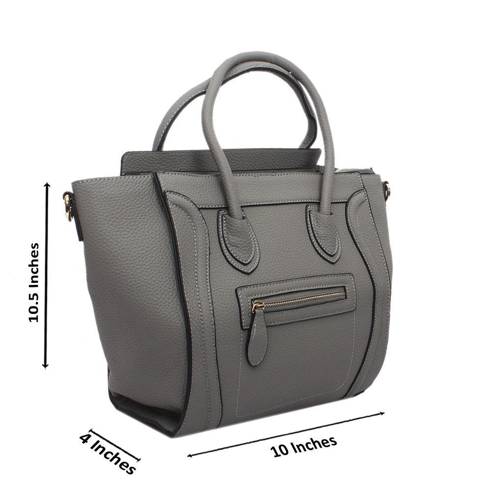 Grey Leather Medium Luggage Handbag