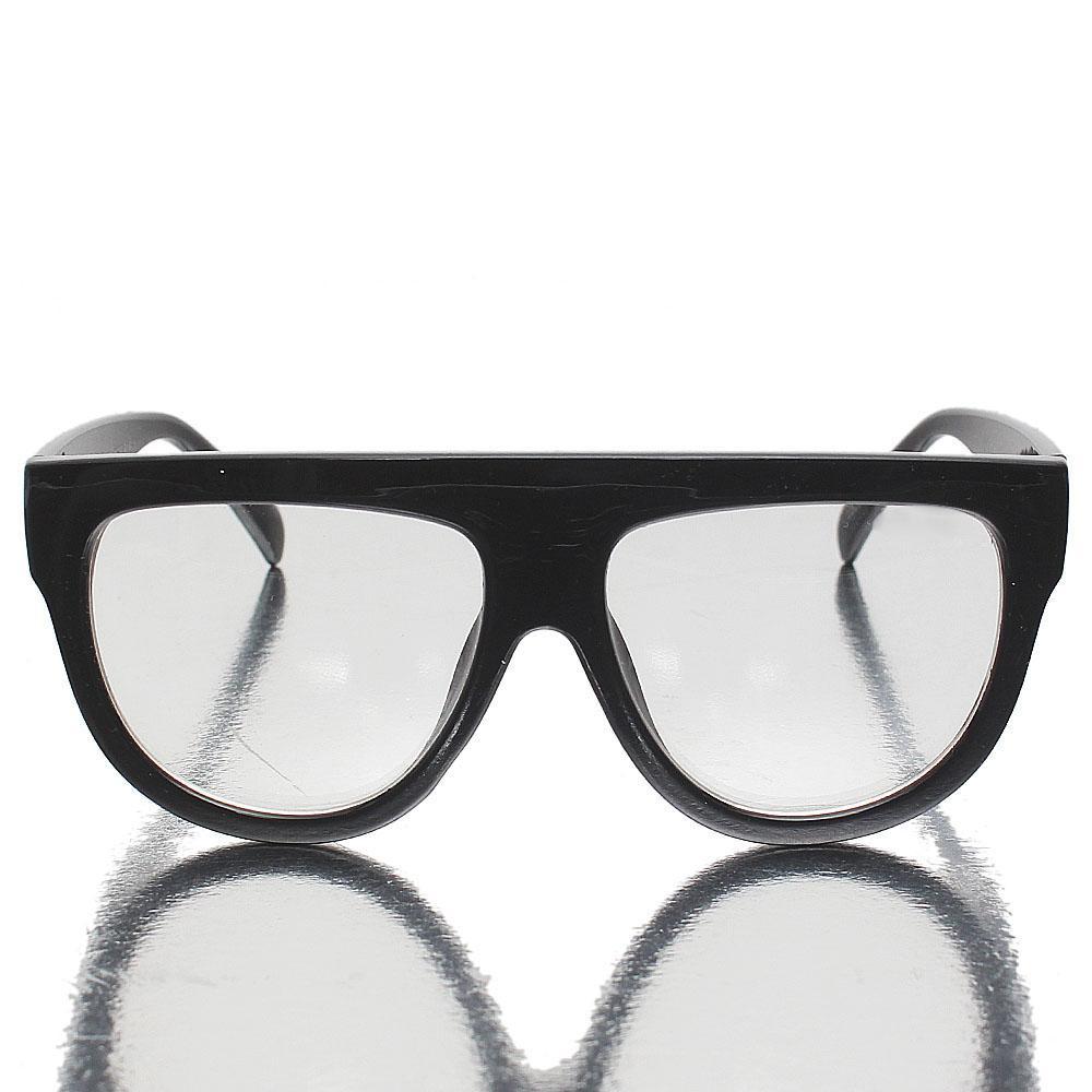 Black Oblong Clear Lens Glasses