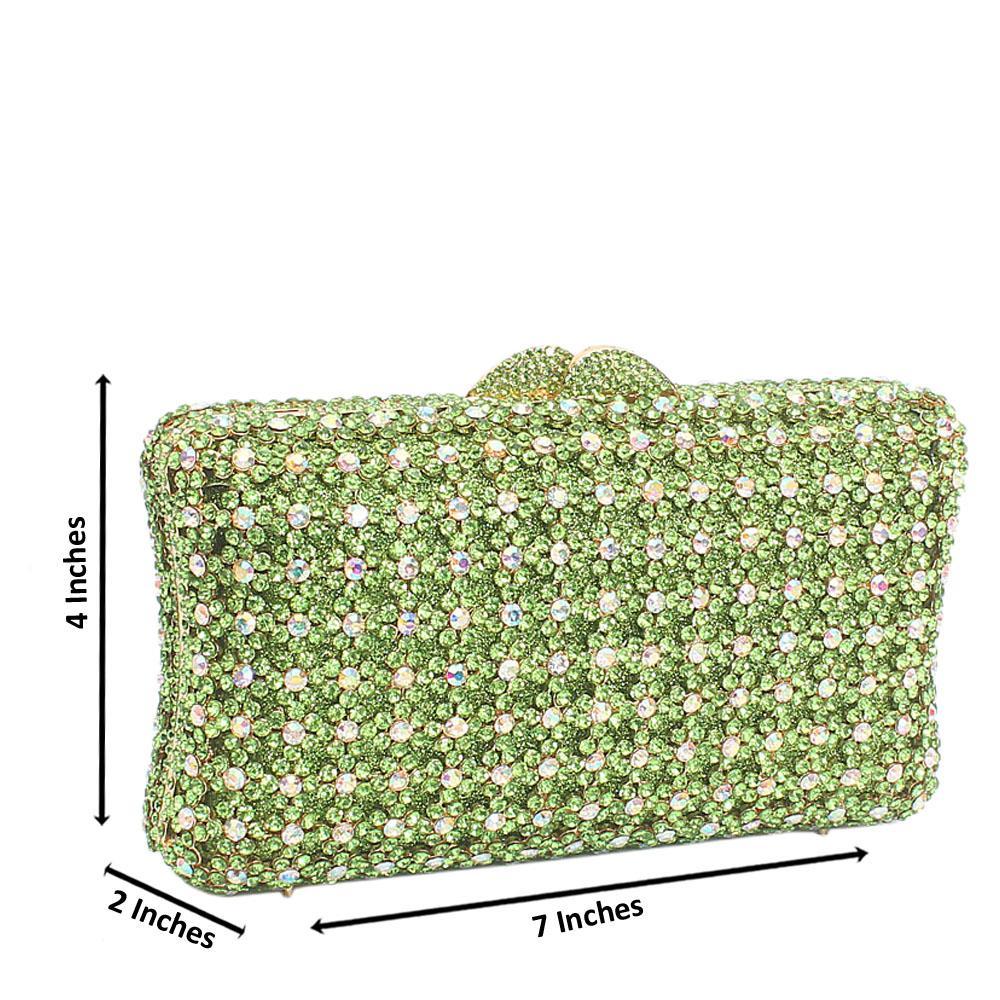 Green Diamante Crystal Clutch Purse