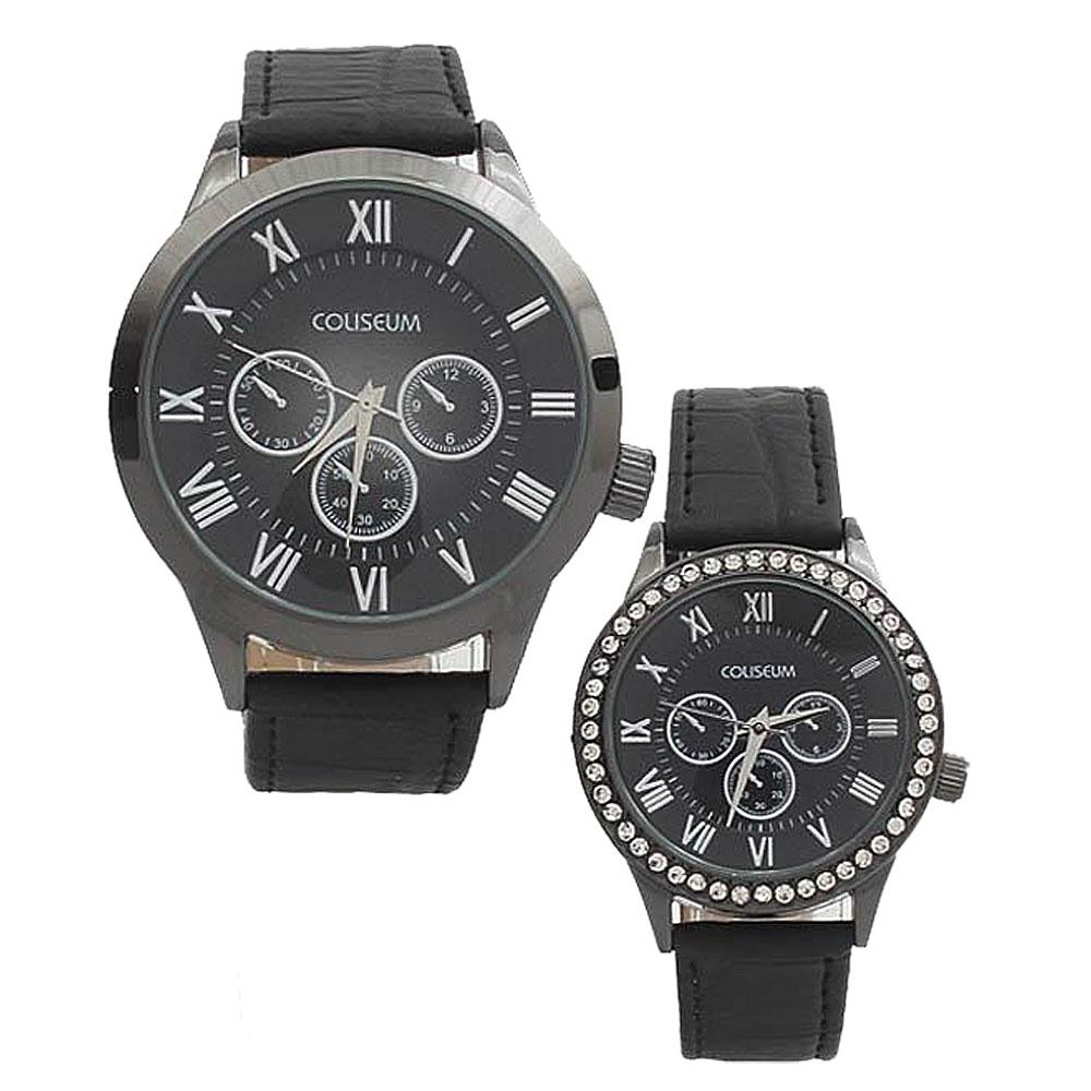 Coliseum Forever Black Leather Couples Watch-
