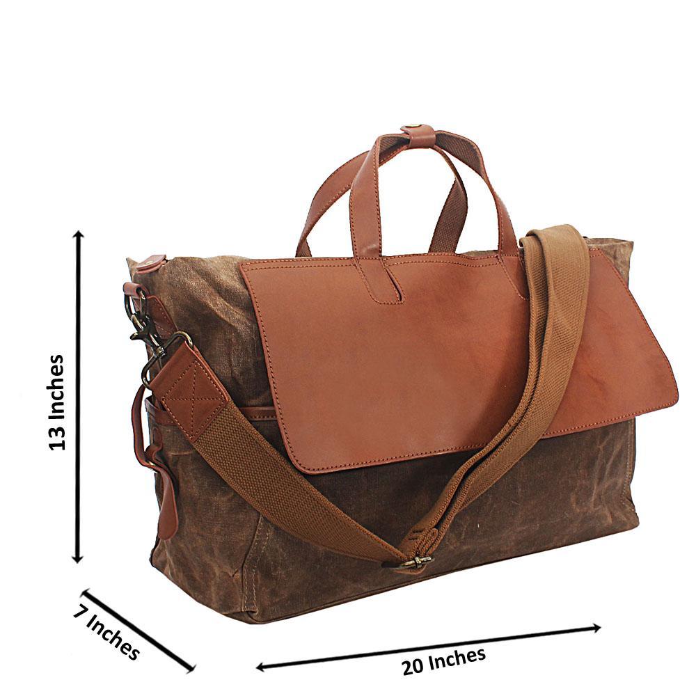 Brown Water Proof Khaki Duffel Bag