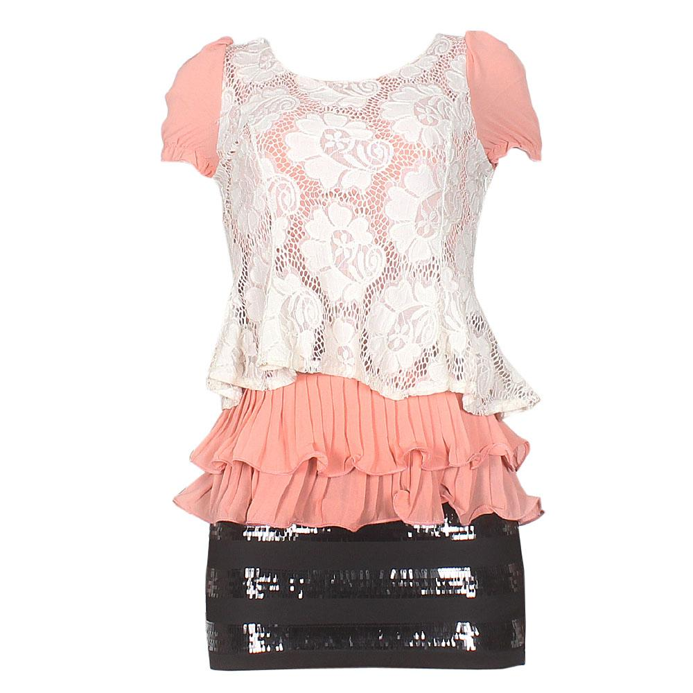 YFF Show Pink/White/Black Sequins Laced Front Party Dress
