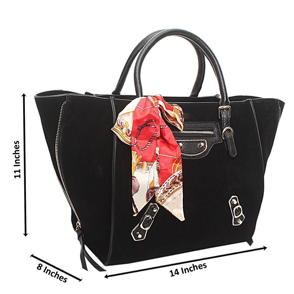 Black Suede Saffiano Leather Handbag