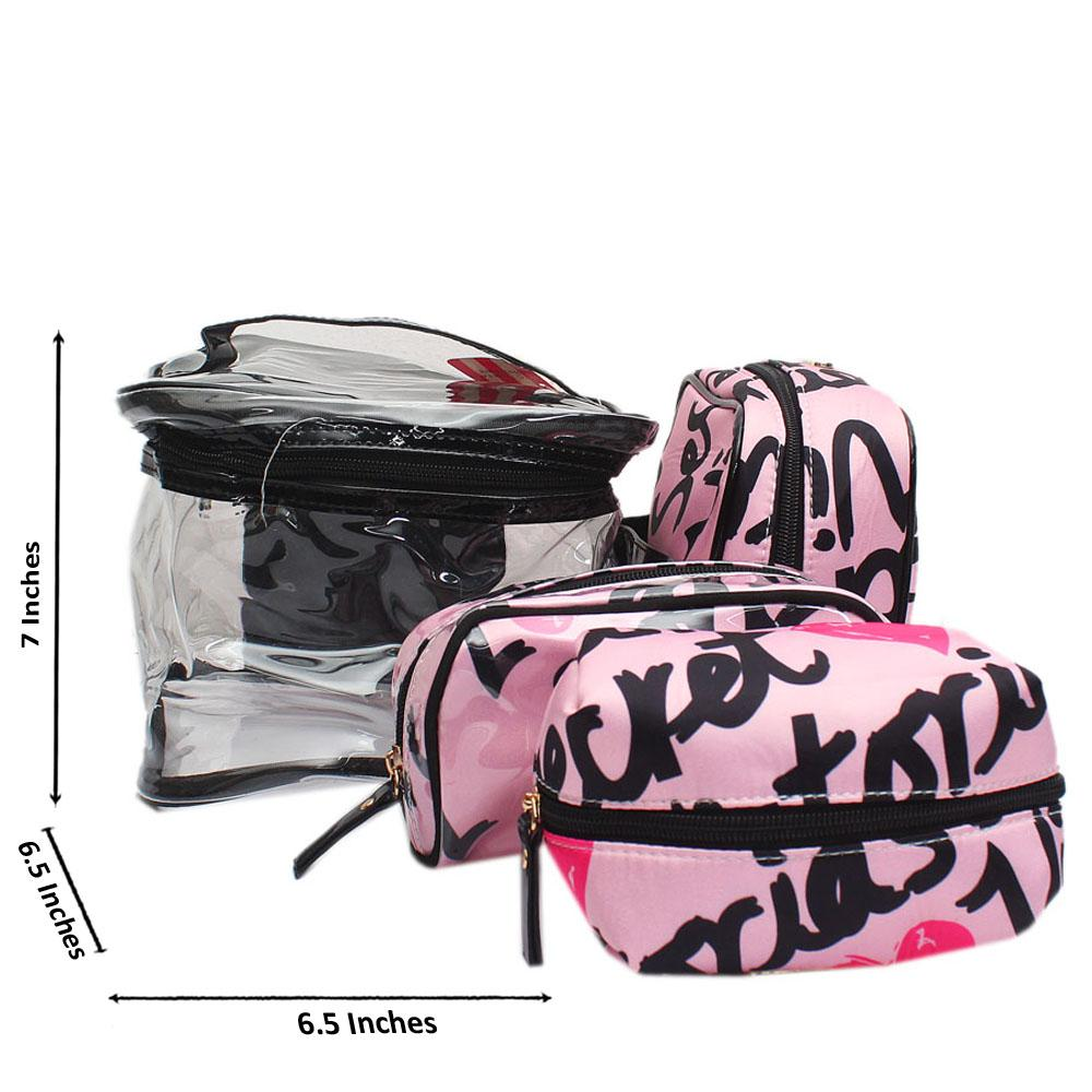 VS Pink Rubber Fabric Makeup Bag