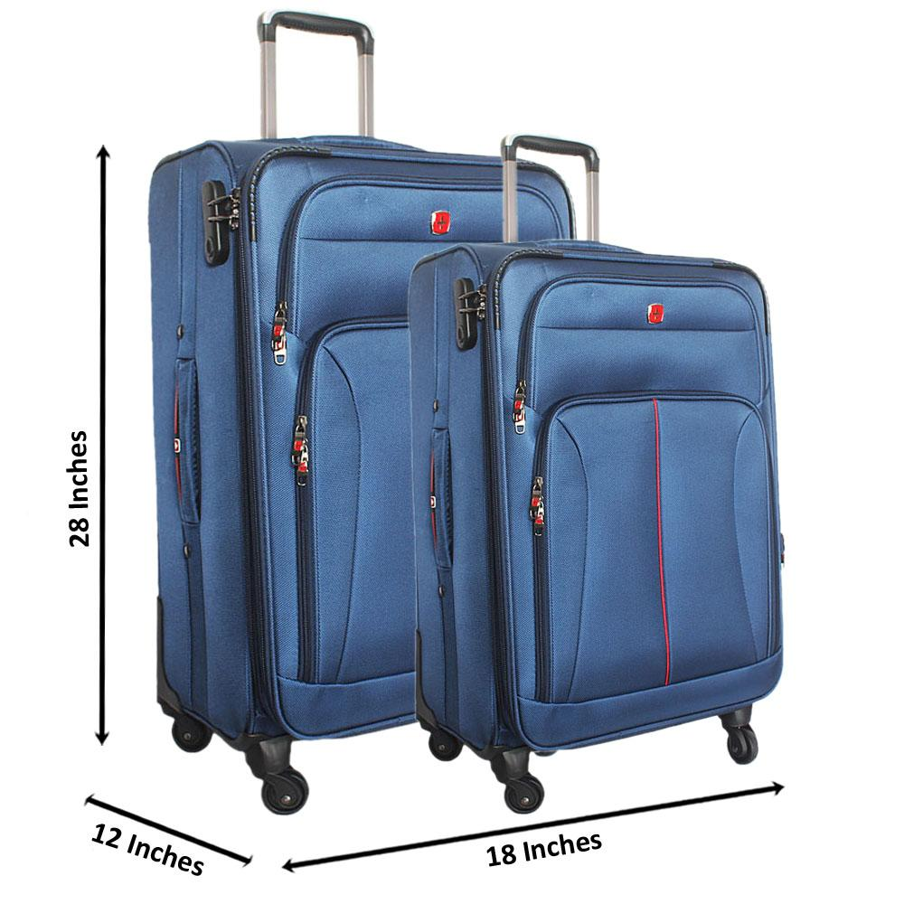 Saint Blue 28 Inch wt 24 Inch Fabric 4 Wheels Spinners Suitcase Set