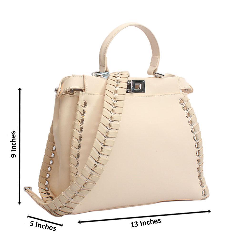 Stunning Cream Peekabo Regular Top Handle Handbag