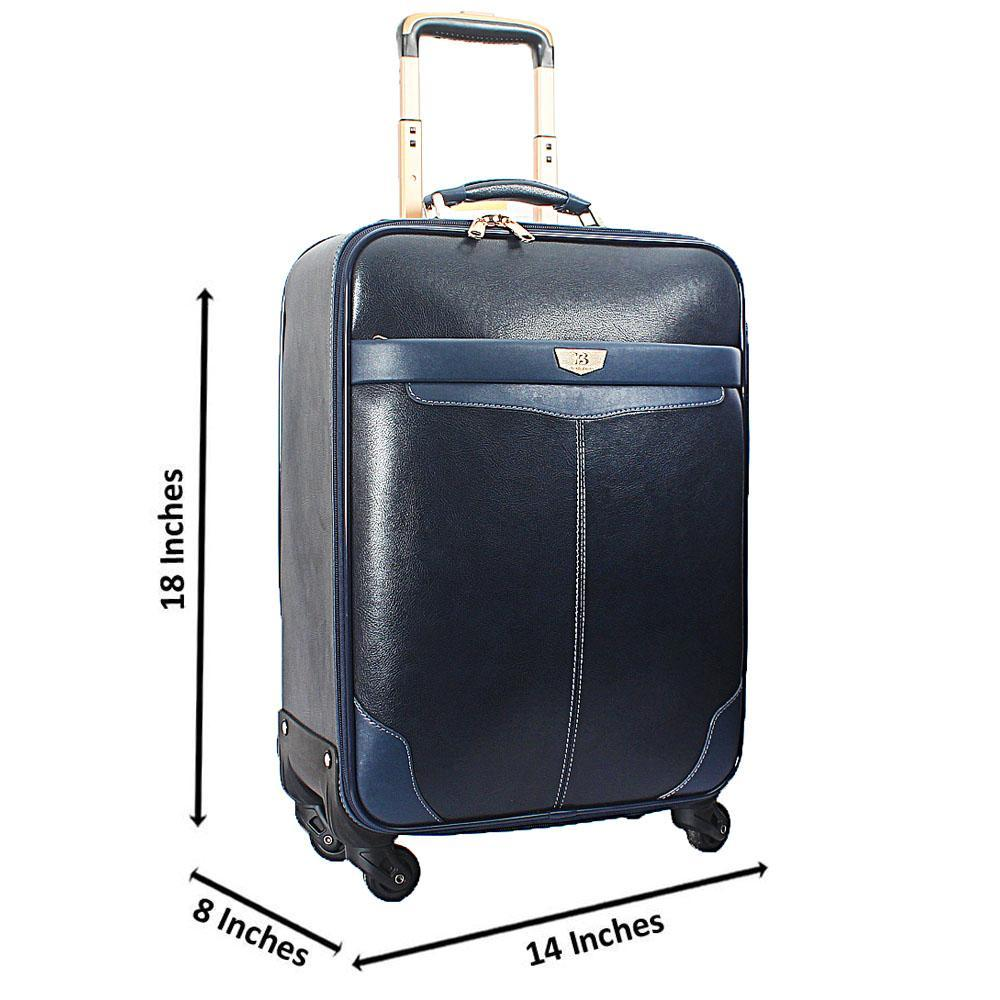 Blue Black Knight Leather 20 Inch Carry On Luggage
