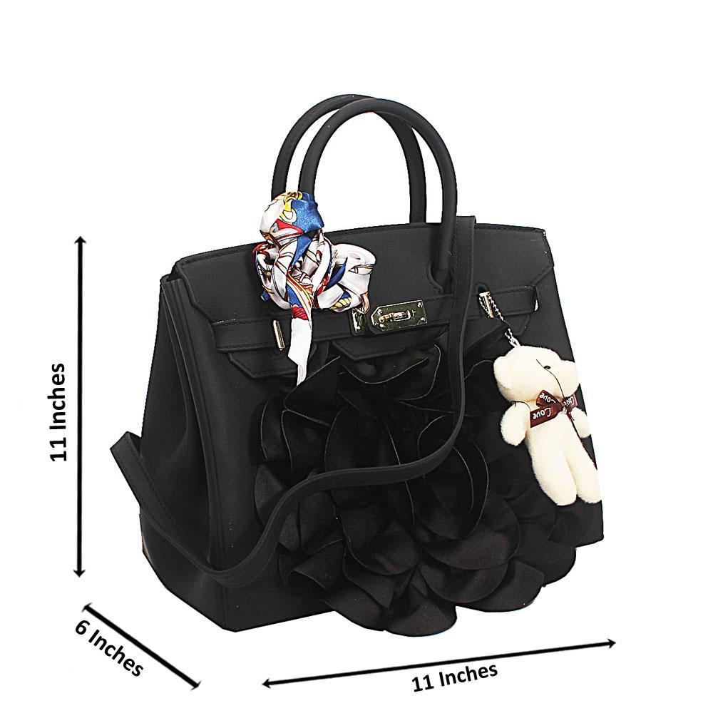 Black Smooth Rubber Tote Handbag