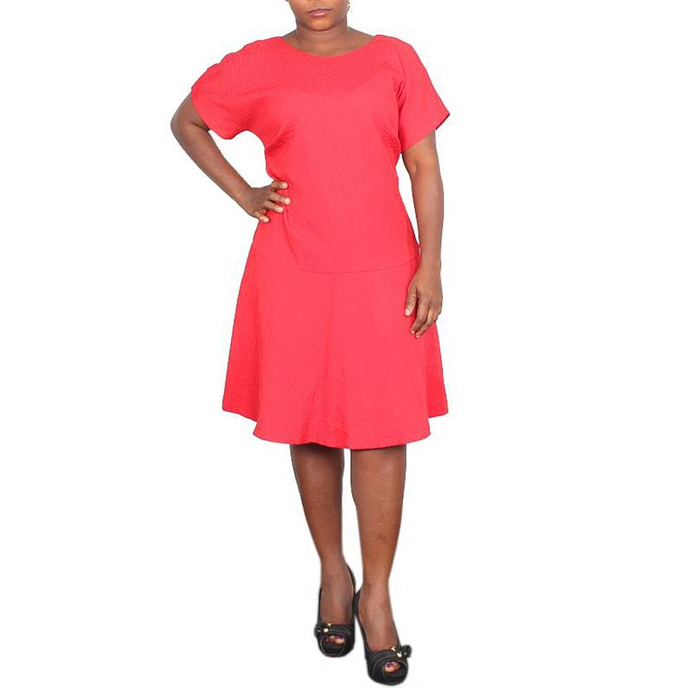 Autograph Red S/Sleeve Ladies Dress-UK 16