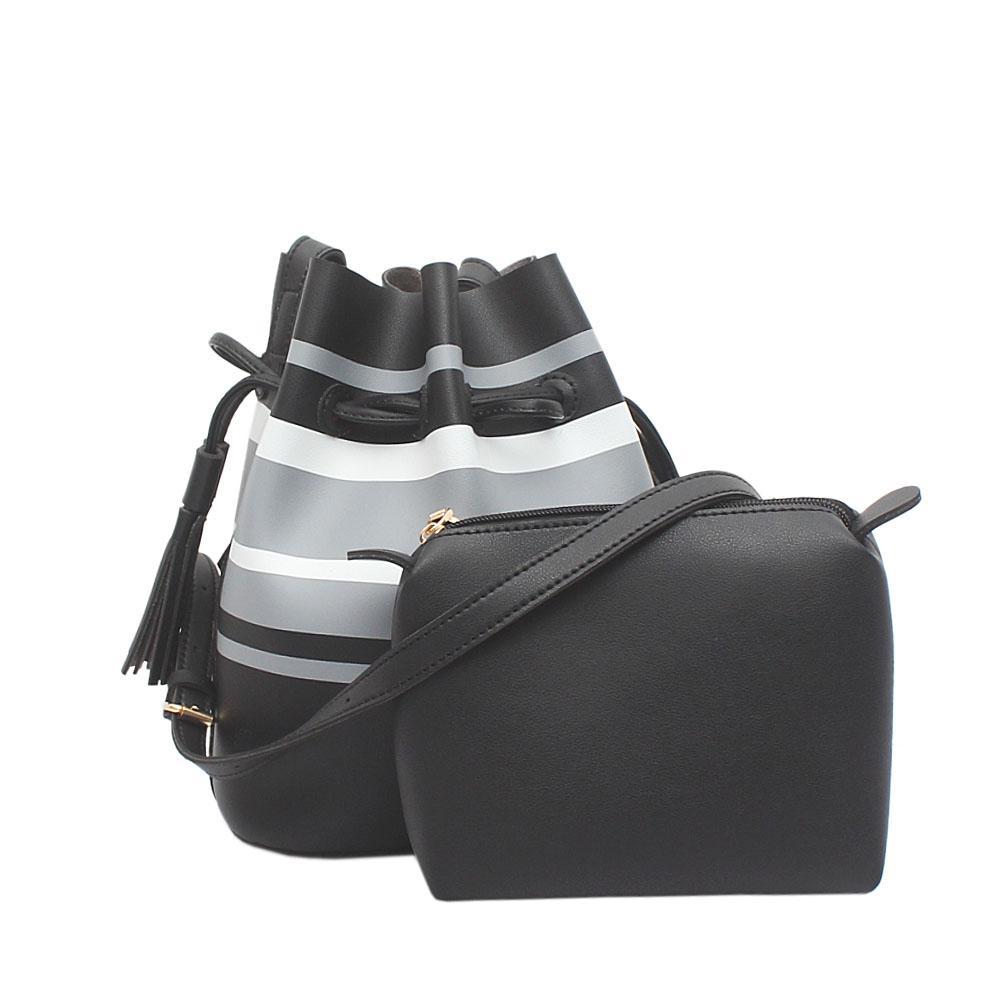 Vintage Black White Grey Leather Shoulder Bag