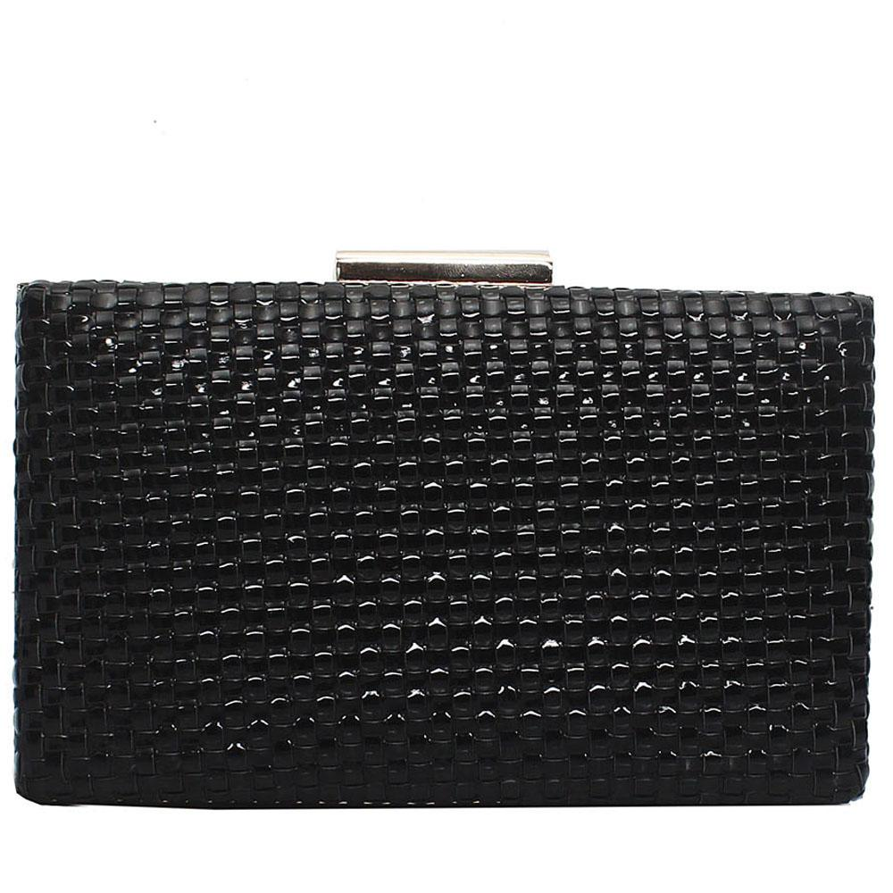Midnight Black Leather Premium Hard Clutch