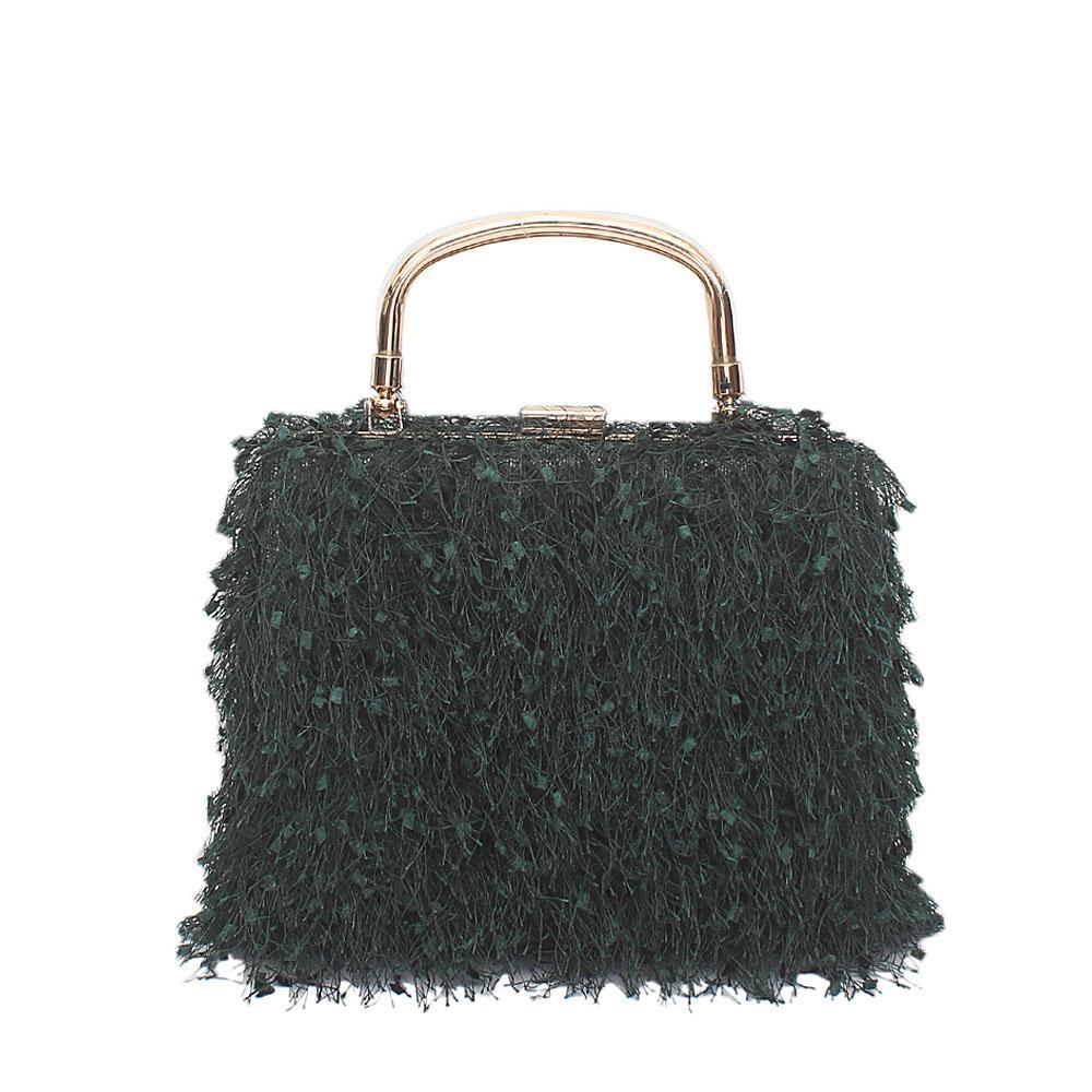 Desert Green Lace Handle Clutch Purse